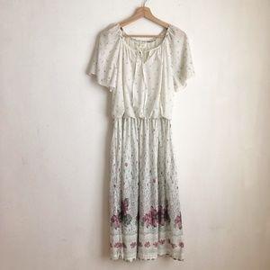 Vintage dress white floral size:Large midi